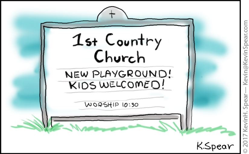 "Church sign that says, ""New Playground! Kids Welcomed!"""