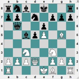 Black is thinking: Can I play 8...Bxf2+ (9.QxB Qxb2) ? What do you think? (Difficult)