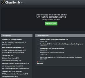 One of the very best sites for following LIVE tournaments from all over the world. www.chessbomb.com