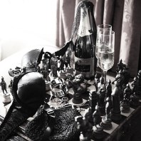 Dinner with a HOT date! The chess set is always a great help...
