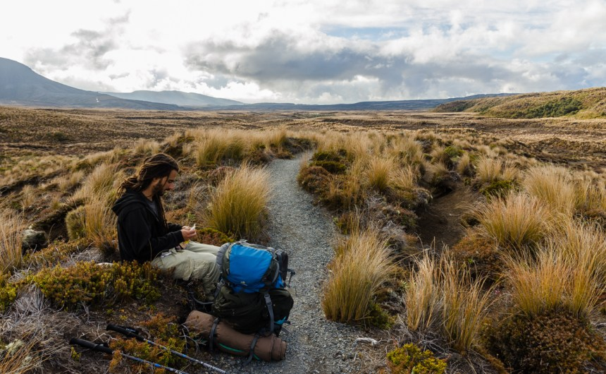 Taking a rest with Memo, Tongariro Northern Circuit