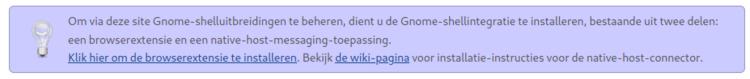 Screenshot van de waarschuwing op de website van de Gnome extensies