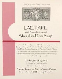 Laetare March 9 poster