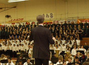 Kevin conducting Ode To Joy for massed music students.