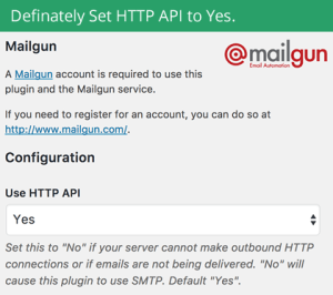 Set the Mailgun API setting to true.