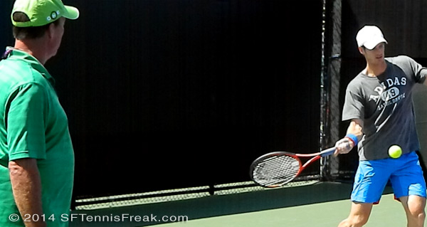 Andy Murray working with former coach Ivan Lendl at the 2012 Sony Ericsson Open.