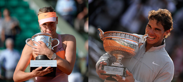 2014 French Open Champions: Maria Sharapova and Rafa Nadal (© FFT)
