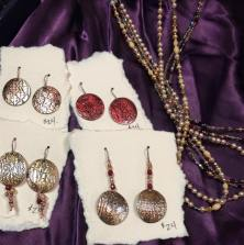 textured disc earrings and beads