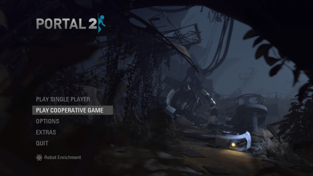 Portal 2 Main Menu Screen