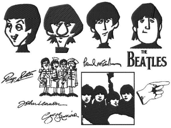 The Beatles Embroidery Designs set 2