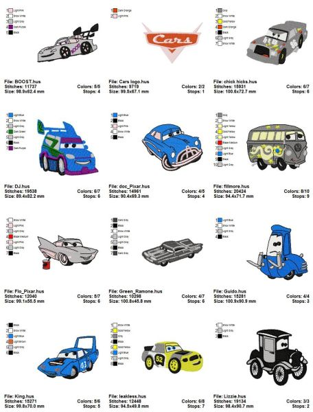 Disney Cars Embroidery Designs Set