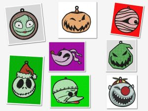 Nightmare Before Christmas Ornaments Embroidery Designs Set