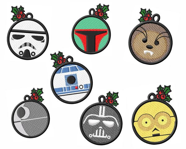 Fsl Star Wars Christmas Ornament Embroidery Designs Set
