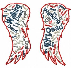 Walking Dead Daryl Wings Text Art Embroidery Design