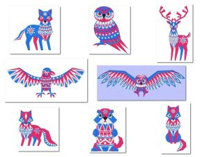 Arctic Tribal Creatures Embroidery Designs