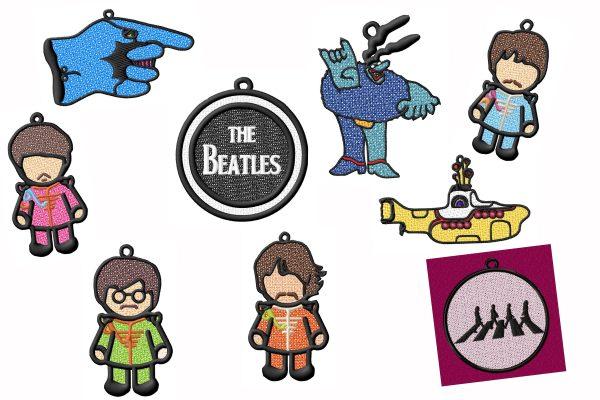 Beatles FSL Xmas Ornament Suncatcher Embroidery Designs Set