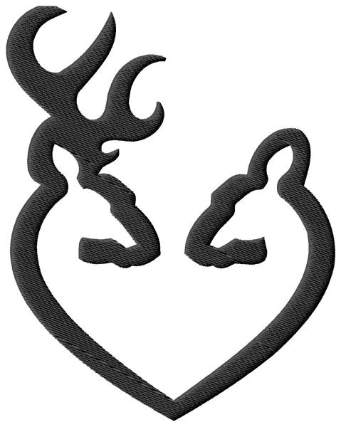 Browning Heart Doe Buck Embroidery Design
