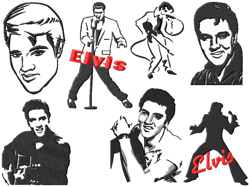 Elvis Embroidery Designs Set #2 This Elvis Embroidery Designs Set #2 includes 13 different designs in 2 sizes that will fit both 4x4 and 5x7 hoops for a tot