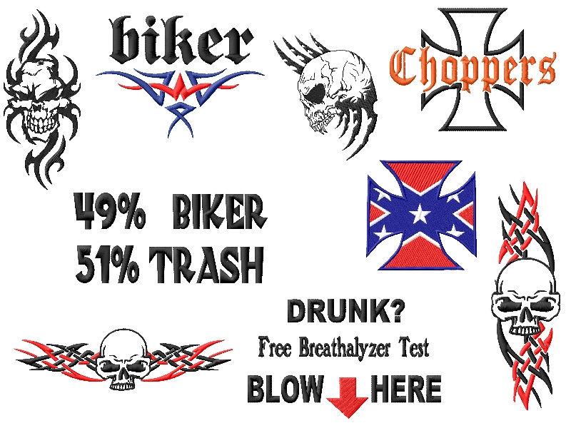 Biker Embroidery Designs Set 5