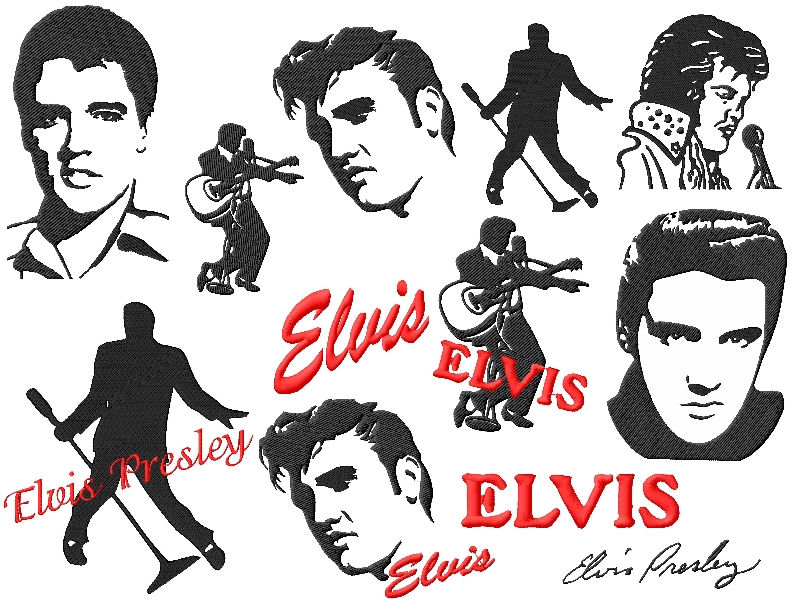 Famous People Elvis Embroidery Designs Set