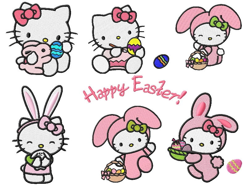 Hello Kitty Easter Embroidery Designs
