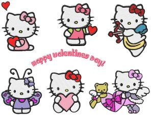 Hello Kitty Valentines Embroidery Designs