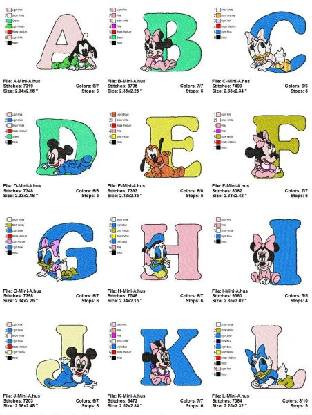 Disney Baby A-B-C Letters Embroidery Designs