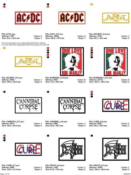 rock band logo embroidery designs set 2