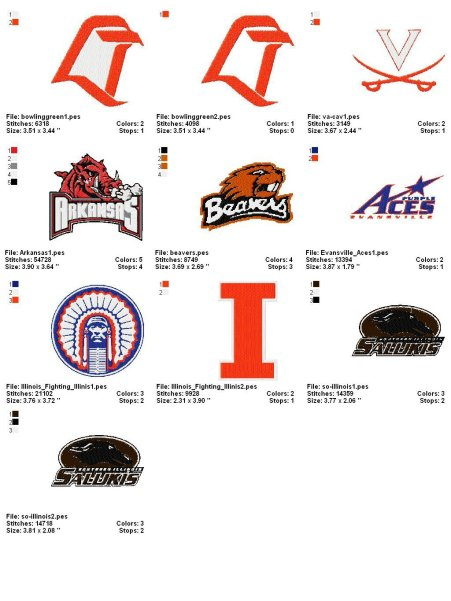 College (collegiate) Embroidery Designs Logos4