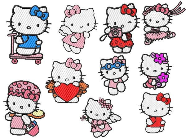 Hello Kitty Embroidery Designs Set
