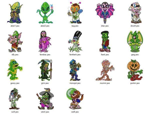 Monsters N Ghouls Embroidery Designs