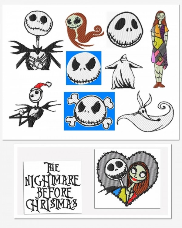 Nightmare Before Christmas Embroidery Designs Set 1