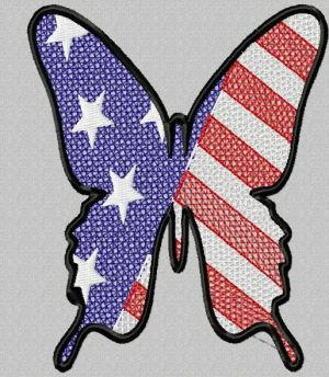 cutout patriotic butterfly embroidery design
