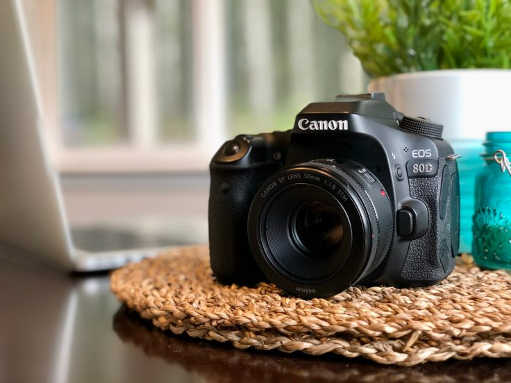 The Canon EOS 80D with the 50mm f/1.8 STM attached.