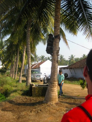 Affixing the clay pot between two palms.