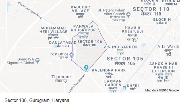 Godrej Meridien Sector 106 location map