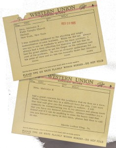 Telegram from Dr. Martin Luther King, Jr. to Betty al-Shabazz expressing his sympathy for the death of her husband, Malcolm X