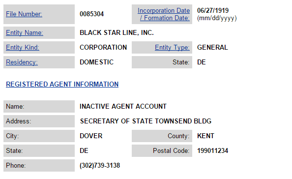 Screenshot of the Black Star Line corporate status from the Delaware Secretary of State website.