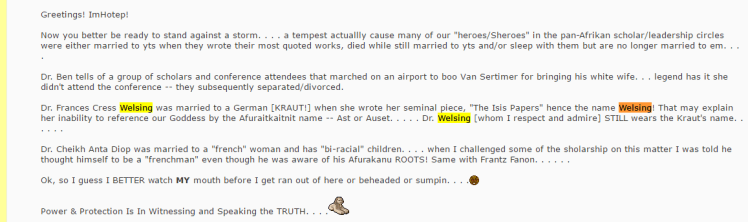 Screenshot of 08-23-2006 post on AssataShakur.org claiming Dr. Frances Cress Welsing was once married to a German [Kraut]