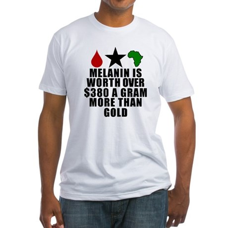 Melanin Is Worth More Than Gold T-Shirt  Red blood drop, Black star, Green Africa with the words melanin is worth over $380 a gram more than gold.