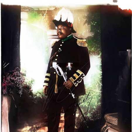 colorized photo of Marcus Garvey