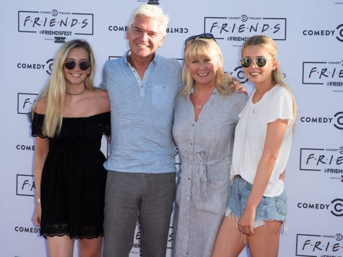 Molly Lowe, Phillip Schofield, Stephanie Lowe and Ruby Lowe attend Comedy Central's Friendfest