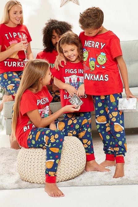Christmas food matching pyjamas