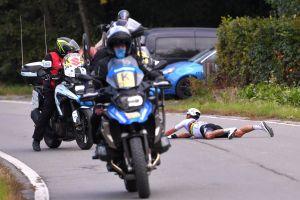 <div>Remco Evenepoel and Patrick Lefevere blame motorbike driver for Julian Alaphilippe's Tour of Flanders crash</div>