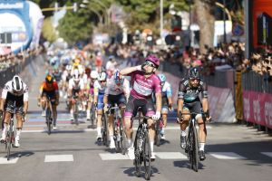 <div>Arnaud Démare gets his hat-trick of wins on stage seven of the Giro d'Italia 2020</div>