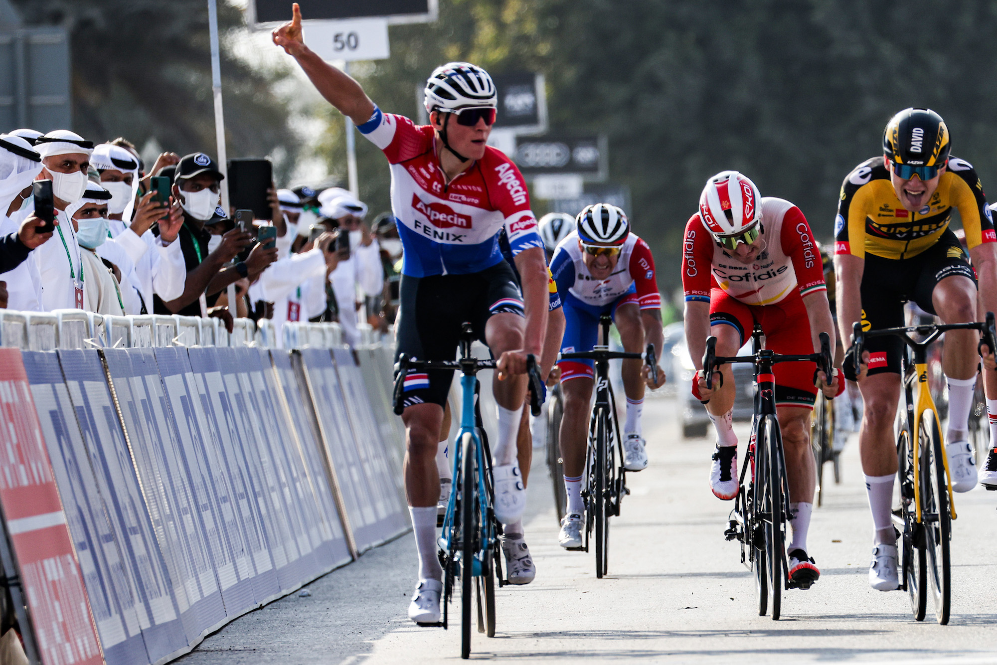 mathieu van der poel victorious in the crosswinds of stage one at the uae tour 2021 cycling weekly