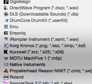 Supported Sampler Format