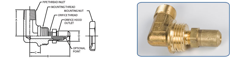 Male Pipe Thread Inlet - Orifice Hood Outlet