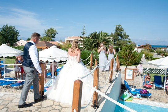 Wedding day under Corfu blue skies