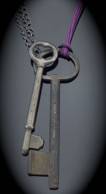 Antique Hand Forged Skeleton Key is 4.25 inch double key clasp $50 (SW821)